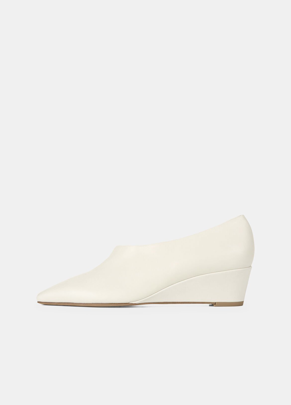 빈스 Vince Leather Barolo Wedge Heel,off white