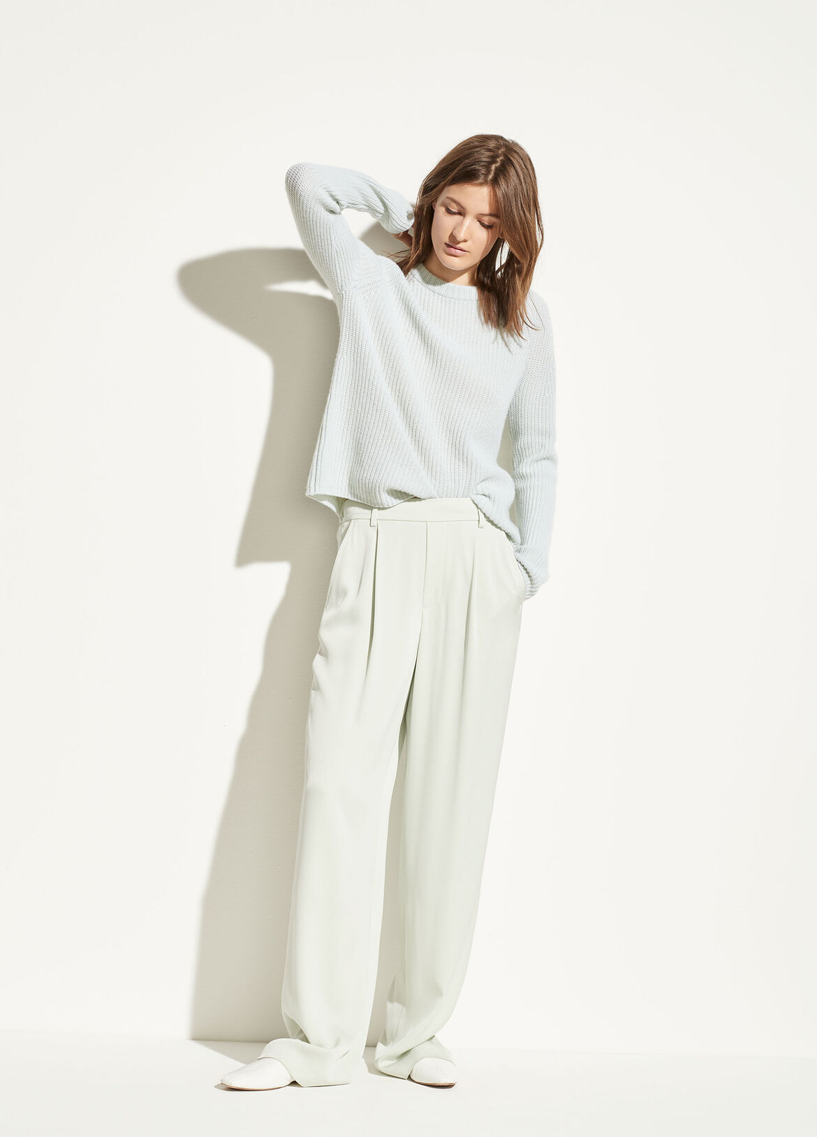 빈스 Vince Wide Leg Pull On Trouser,aloe