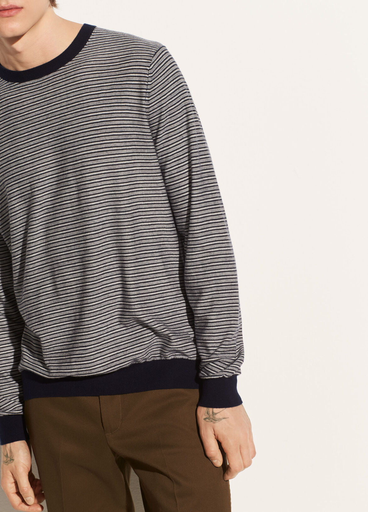 빈스 Vince Striped Wool Crew,coastal/heather white