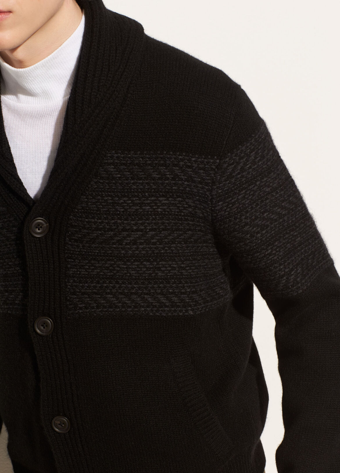 빈스 Vince Reverse Fair Isle Cardigan,black