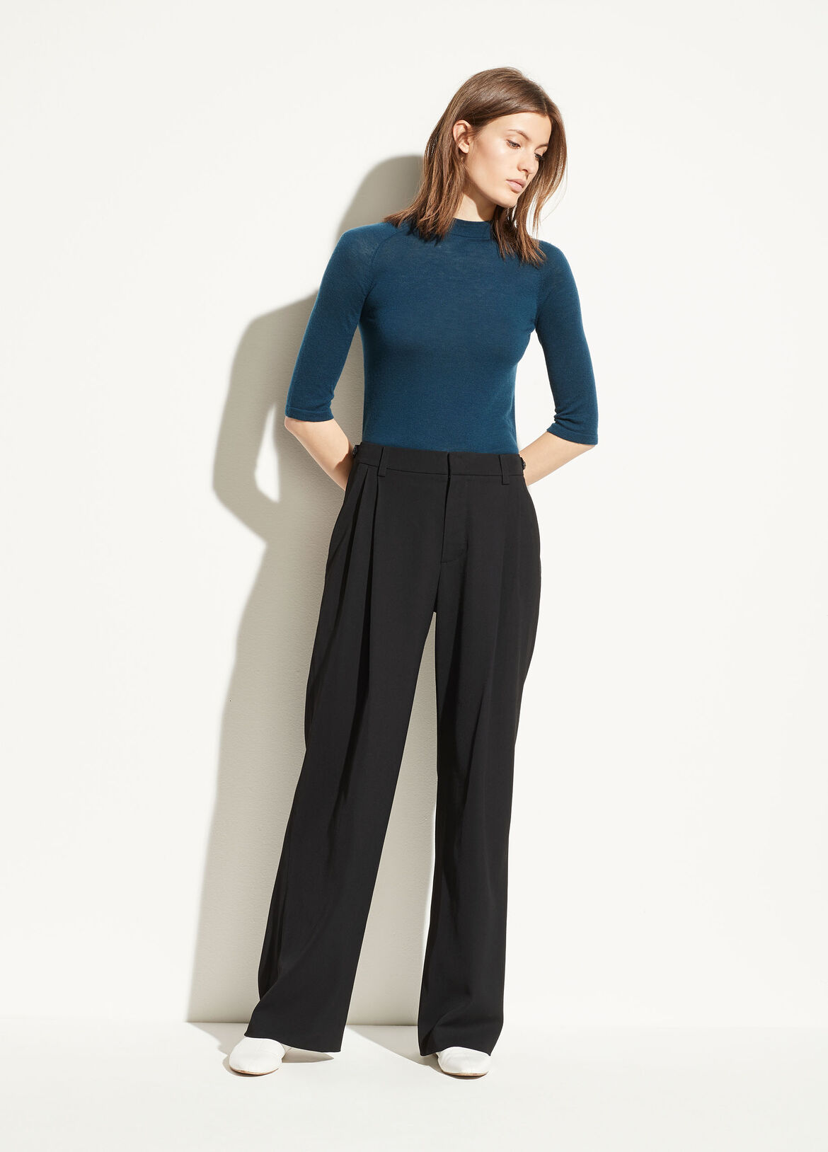 빈스 Vince Wide Leg Trouser,black