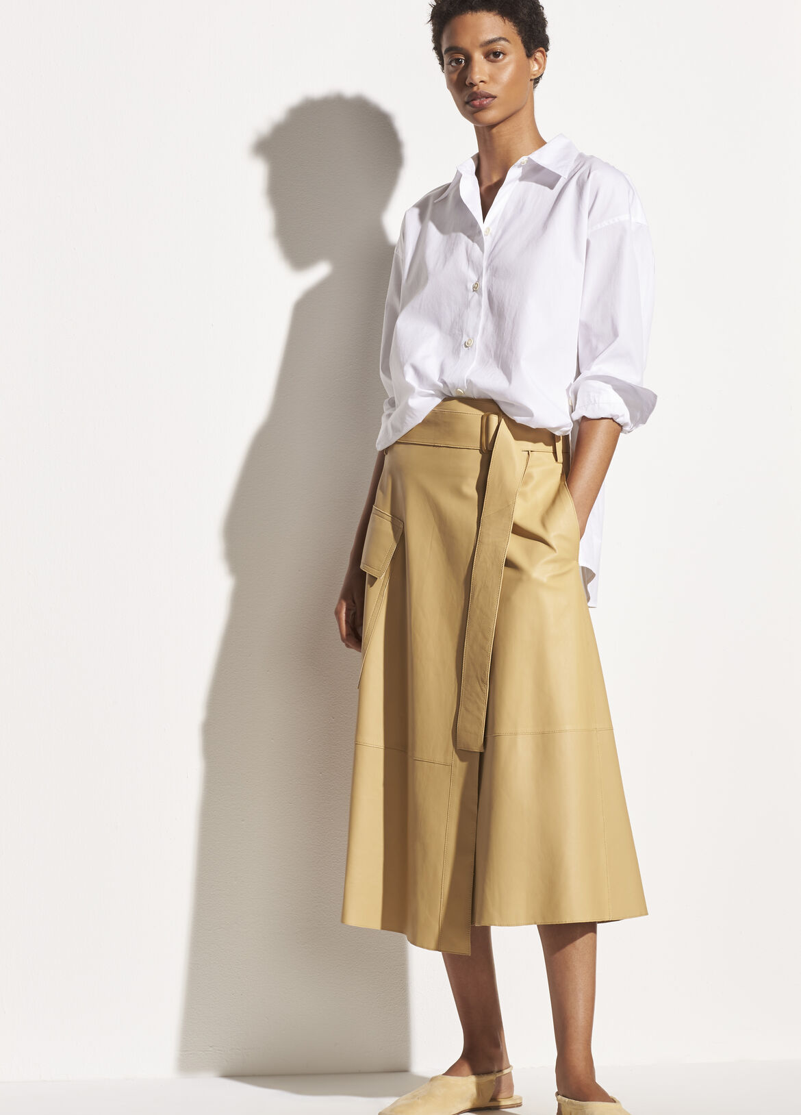 빈스 스커트 Vince Belted Leather Wrap Skirt,straw