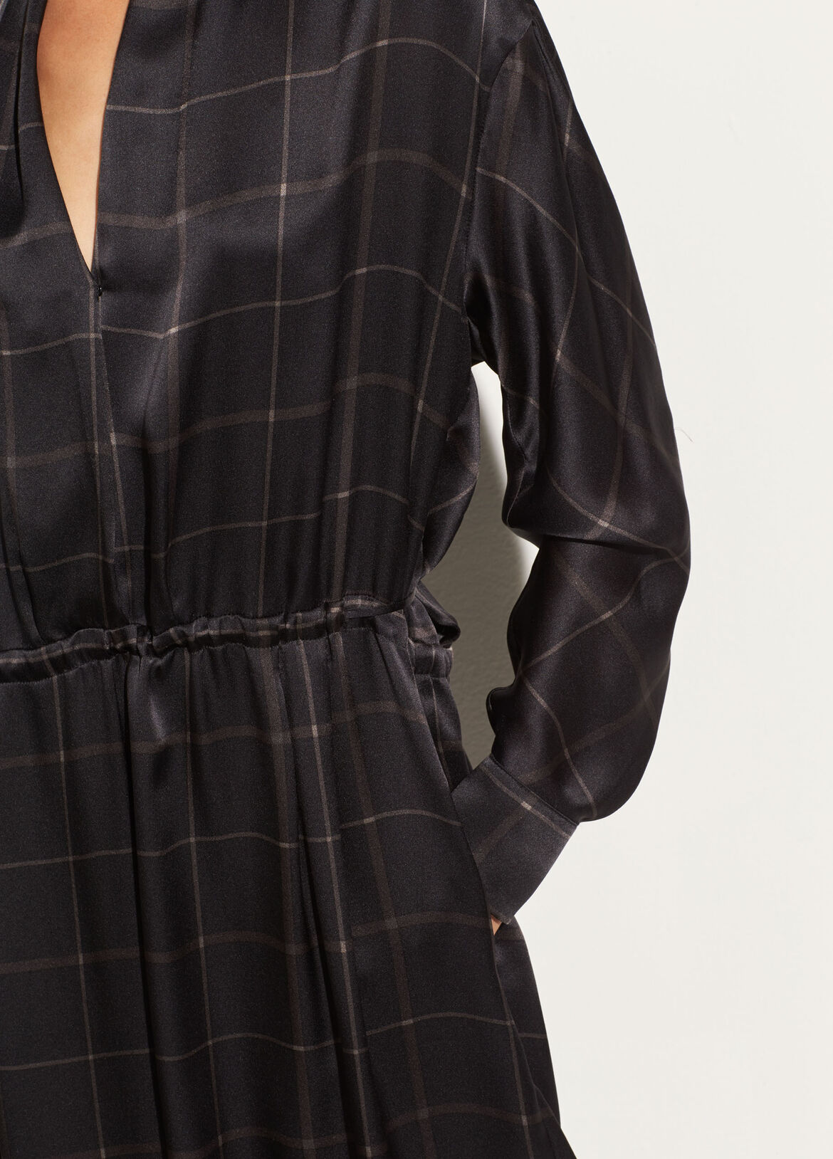 빈스 Vince Grid Plaid Wrap Dress,black