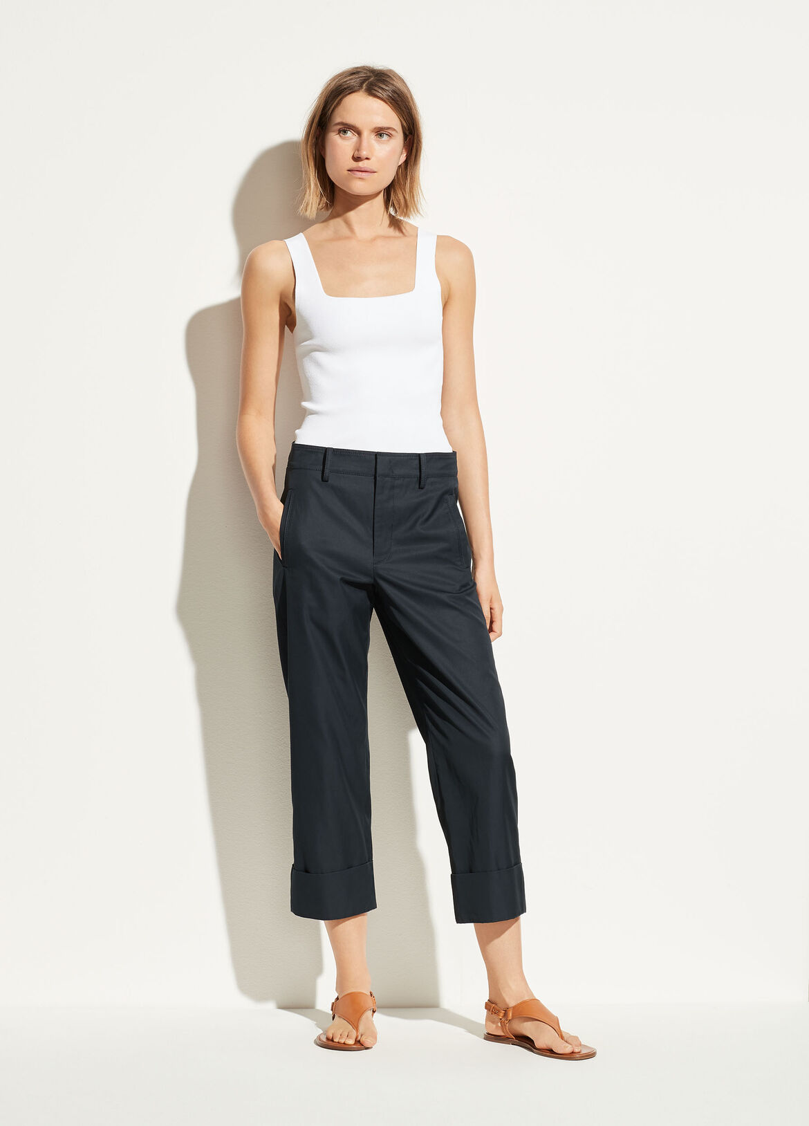 빈스 Vince Cuffed Wide Leg Pant,coastal blue