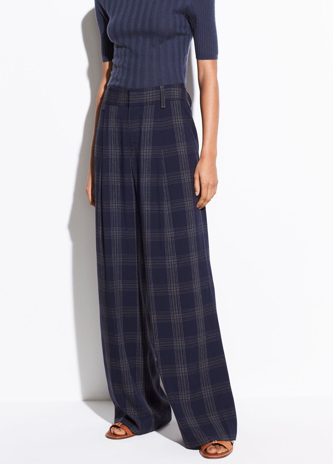 빈스 Vince Plaid Wide Leg Pant,marine