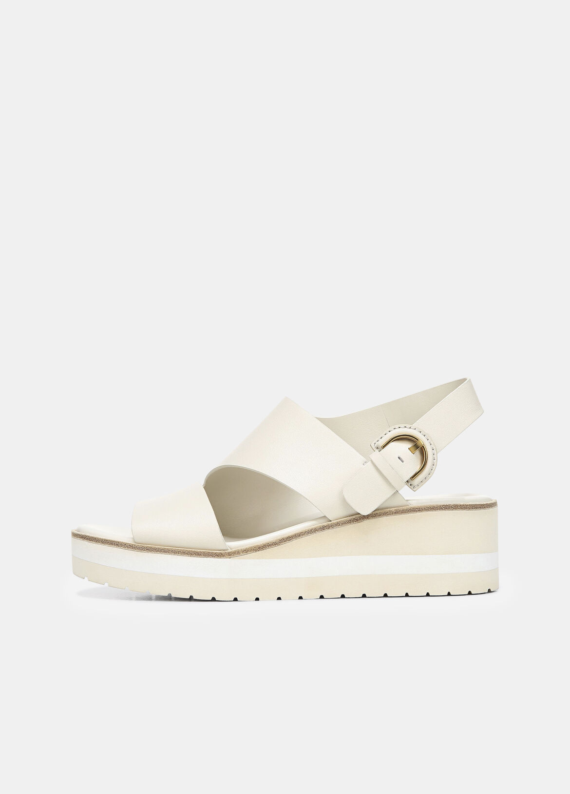 빈스 Vince Leather Shelby Wedge Sandal,flax