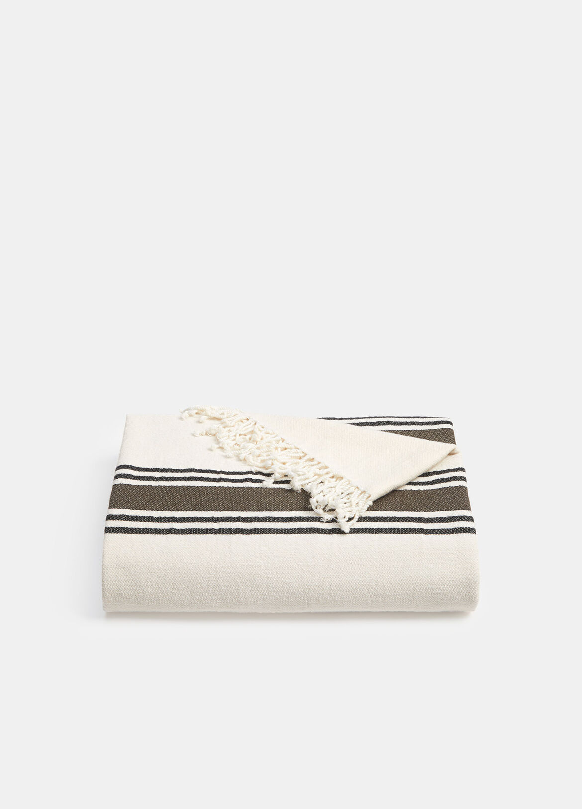 빈스 Vince Border Stripe Blanket,WHITE/OLIVE/BLACK