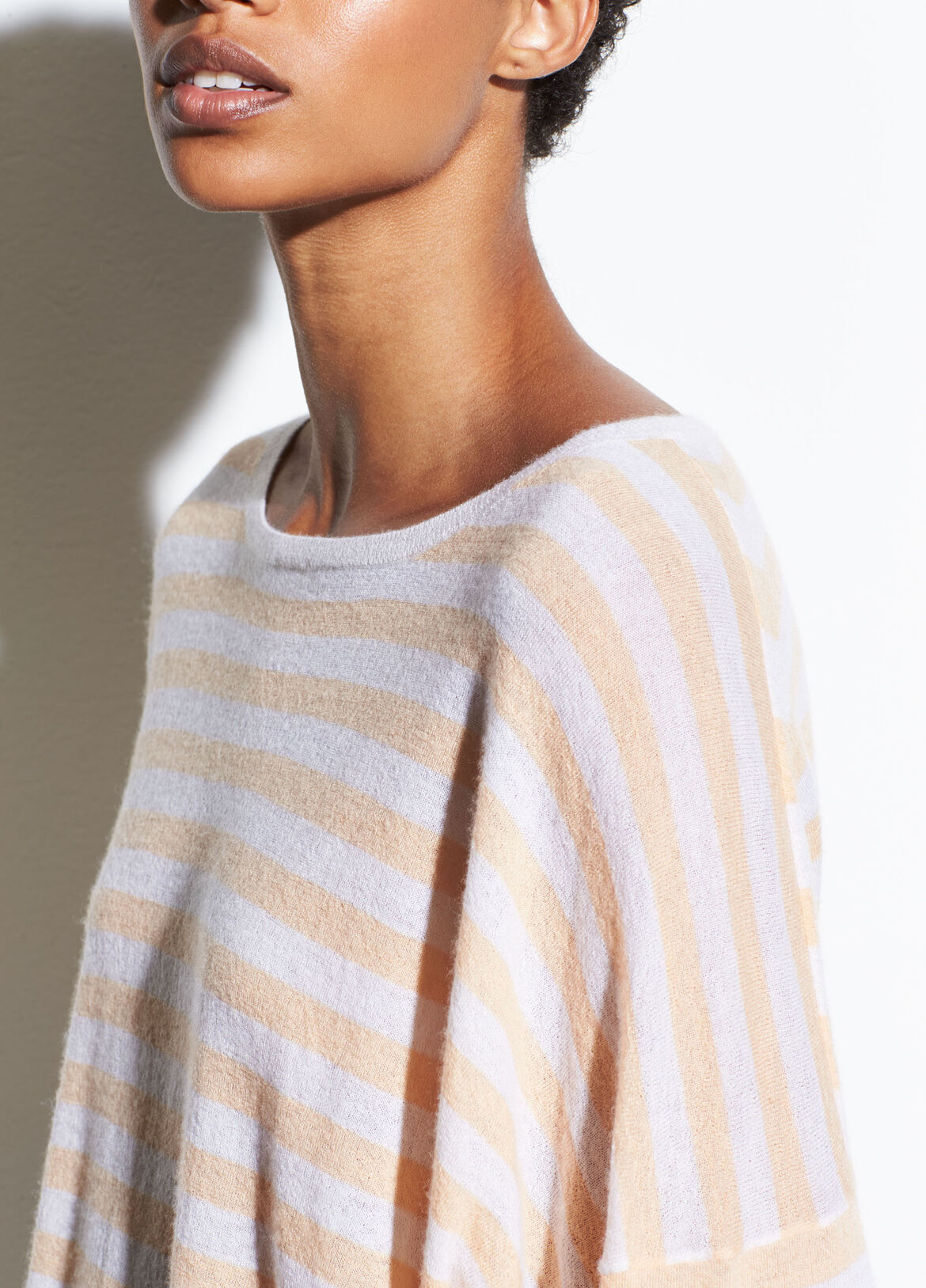 빈스 긴팔 티셔츠 Vince Striped Boxy Drop Shoulder,cream/pale ochre