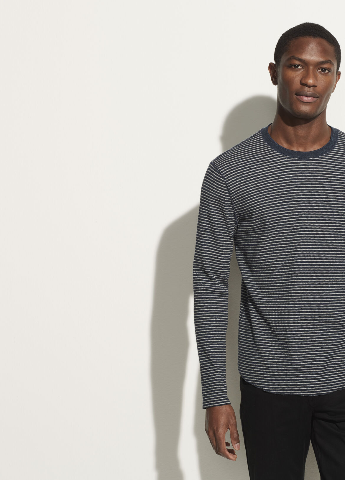 빈스 Vince Striped Thermal Long Sleeve Crew,heather coastal/grey