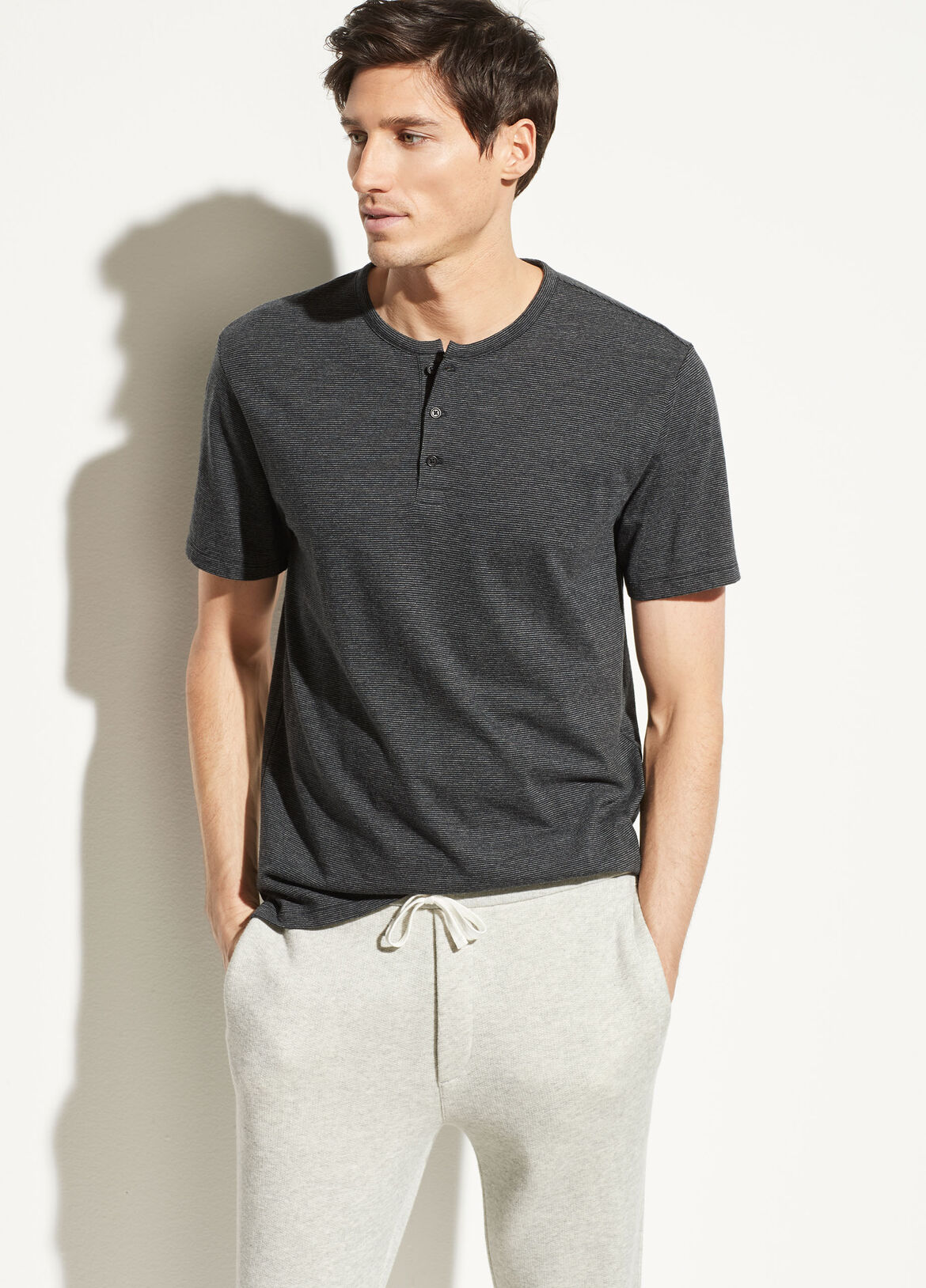 빈스 Vince Feeder Stripe Henley,black/heather union