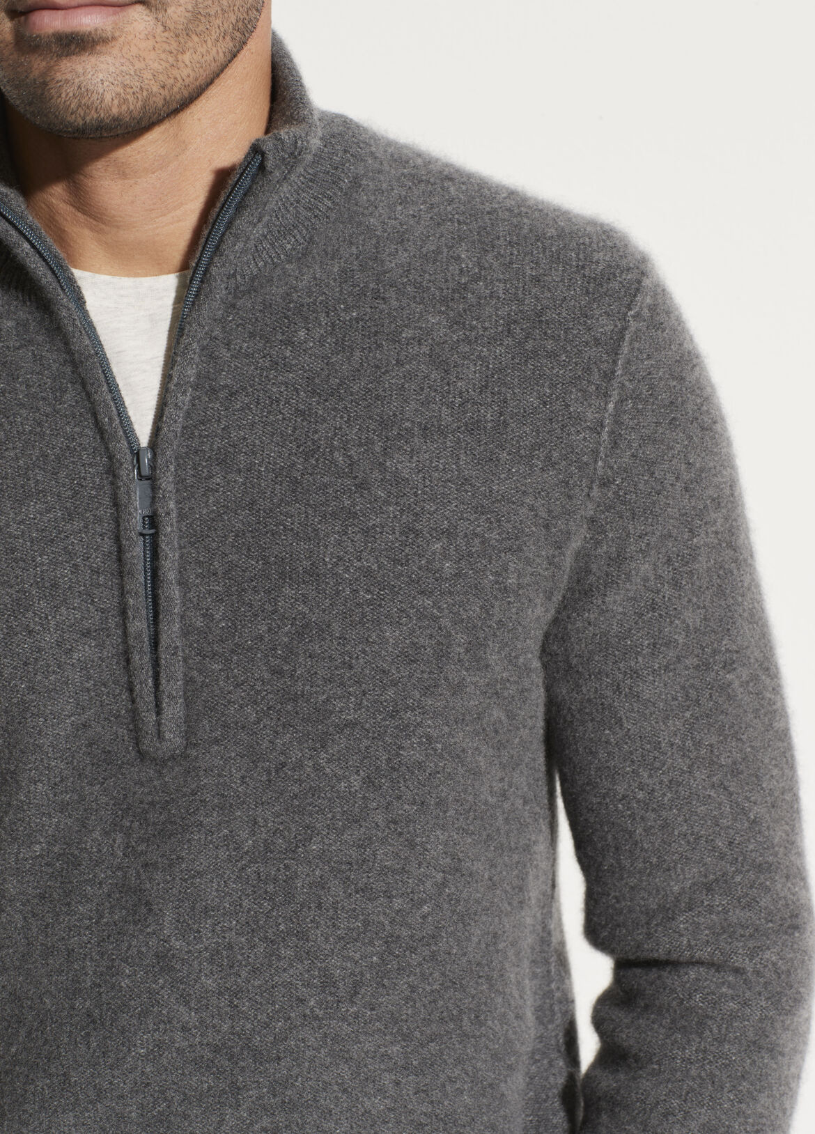 빈스 Vince Boiled Cashmere Half Zip Sweater,medium heather grey