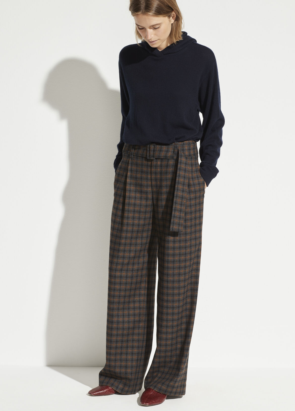 빈스 Vince Check Plaid Wool Pant,mahogany plaid