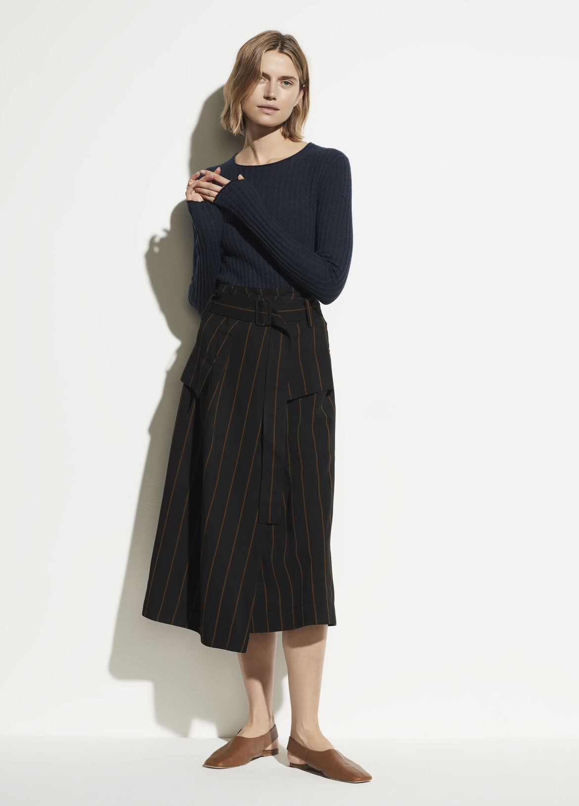 빈스 롱치마 Vince Belted Striped Utility Skirt,black/olive