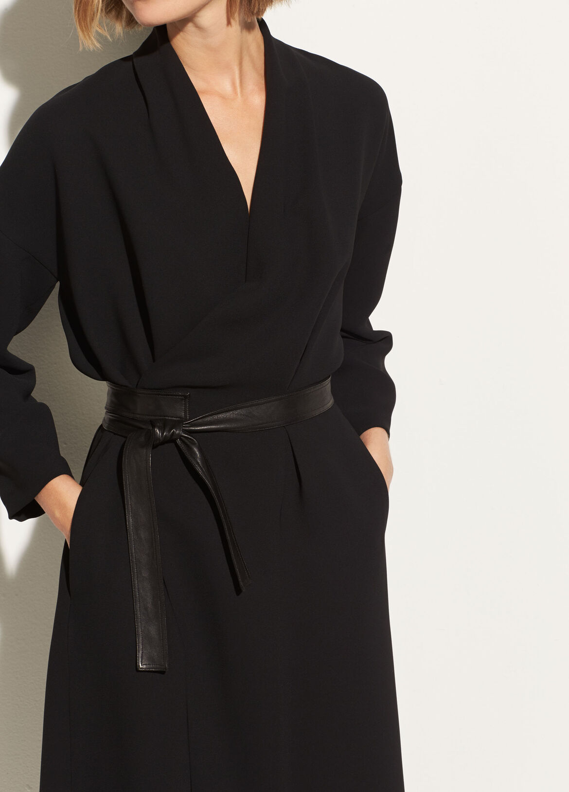 빈스 Vince Belted Wrap Dress,black