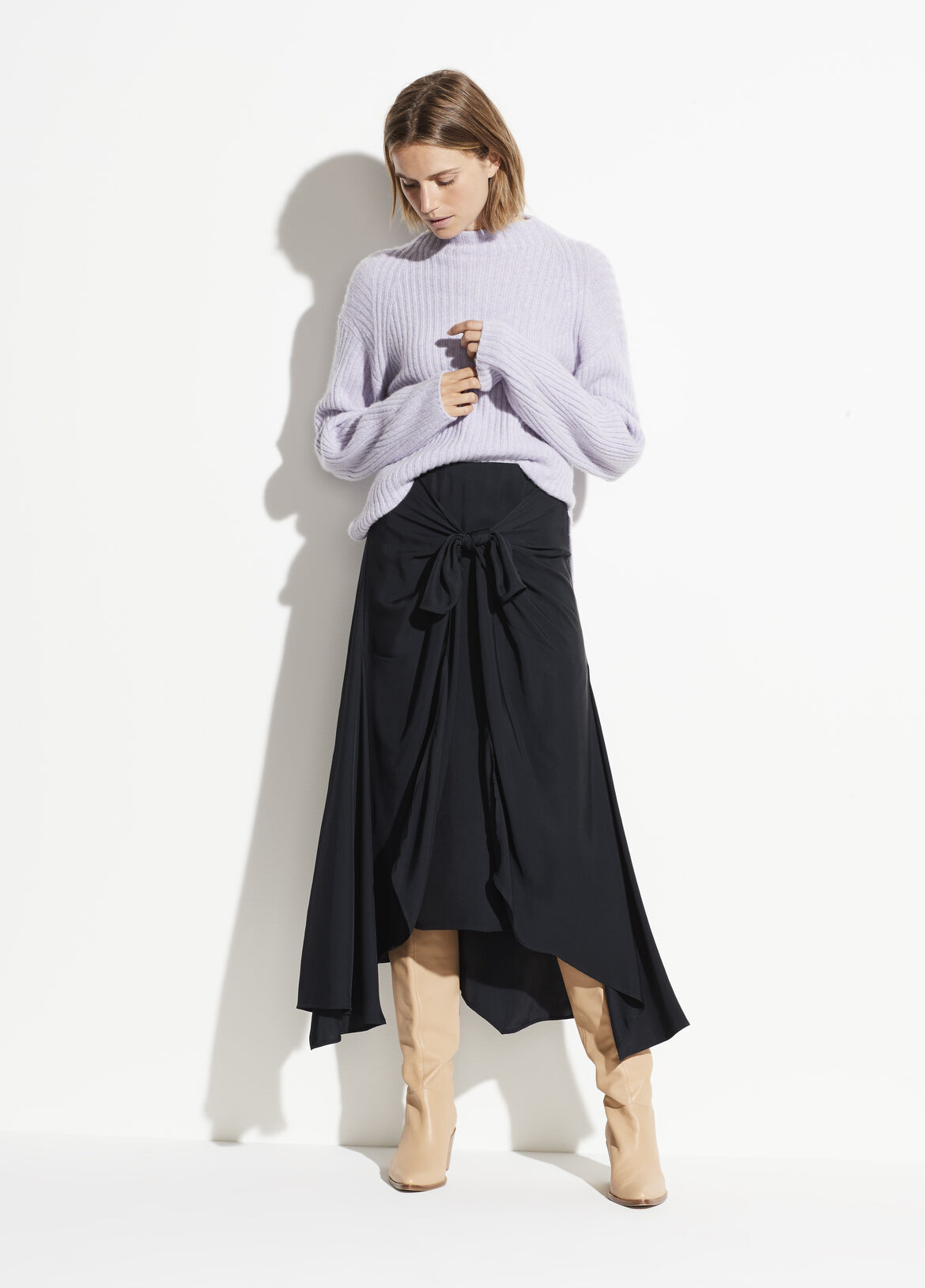 빈스 비대칭 스커트 Vince Tie Front Asymmetric Skirt,dark coastal