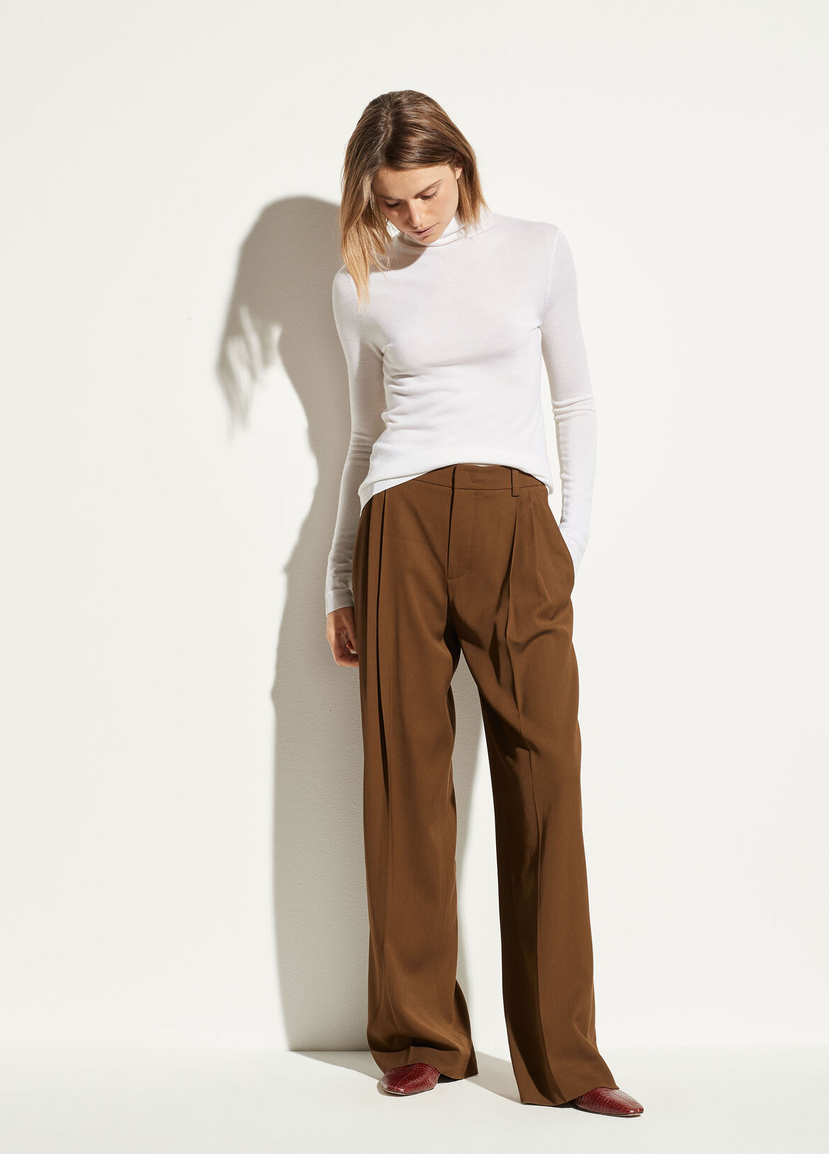 빈스 Vince Wide Leg Trouser,woodbine
