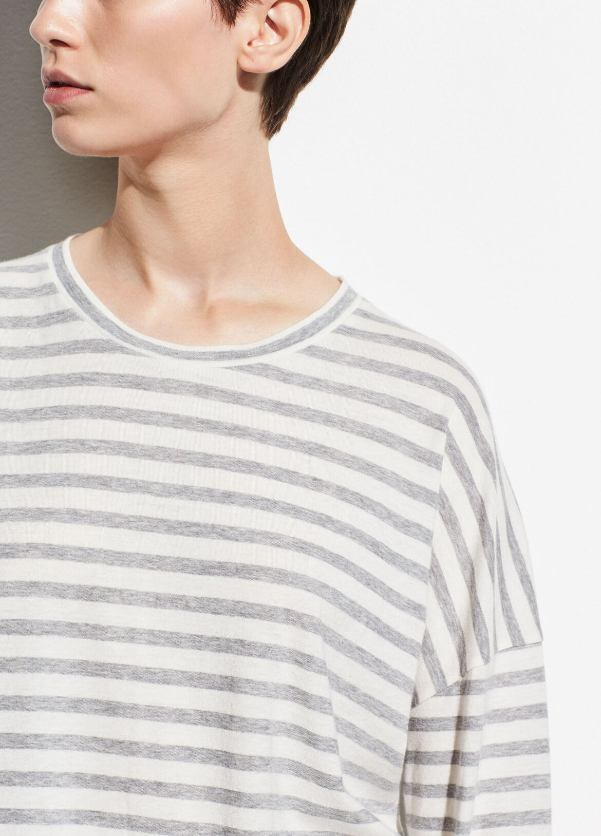 빈스 Vince Bengal Stripe Long Sleeve Crew,off white/steel