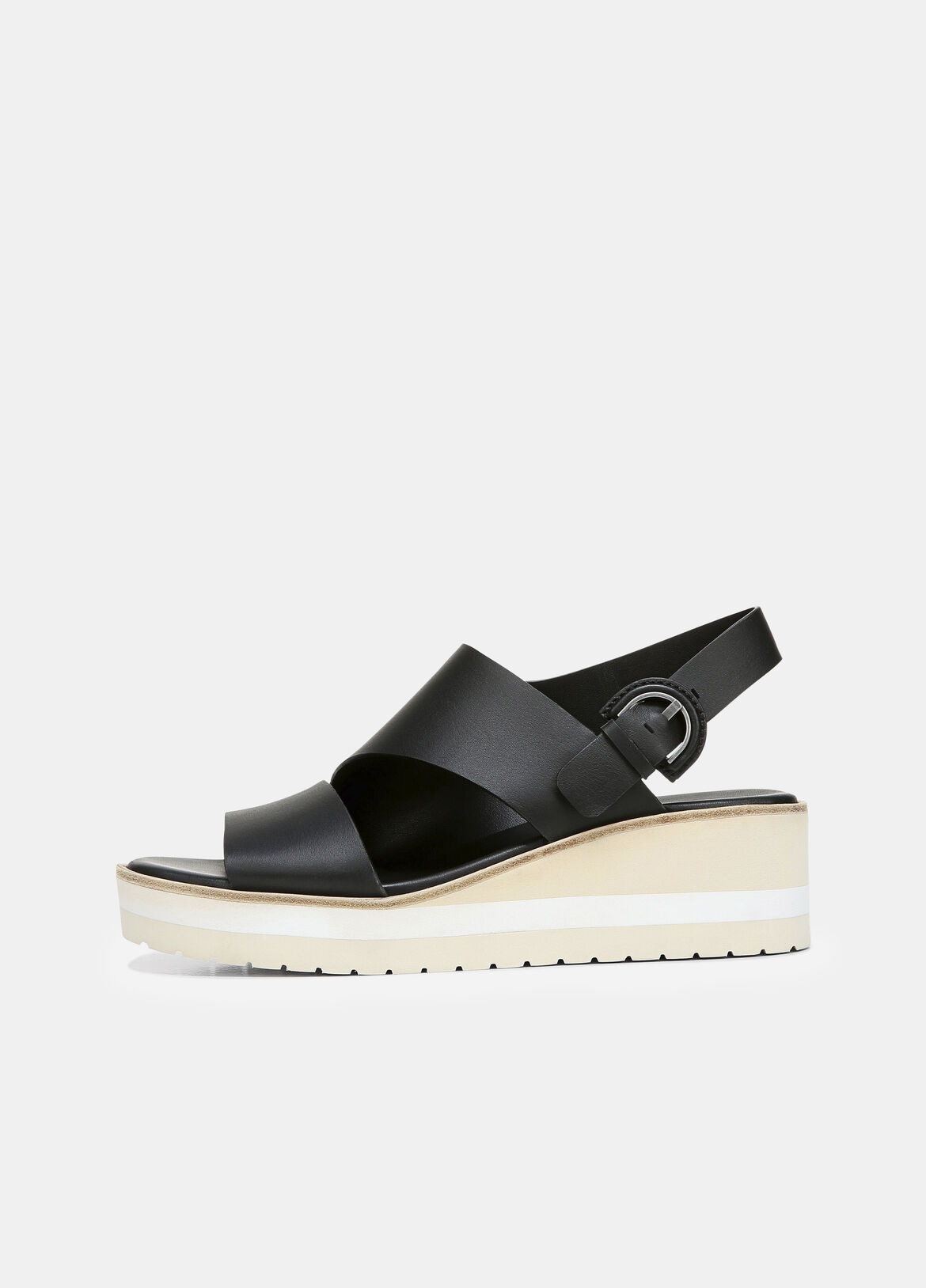 빈스 Vince Leather Shelby Wedge Sandal,black