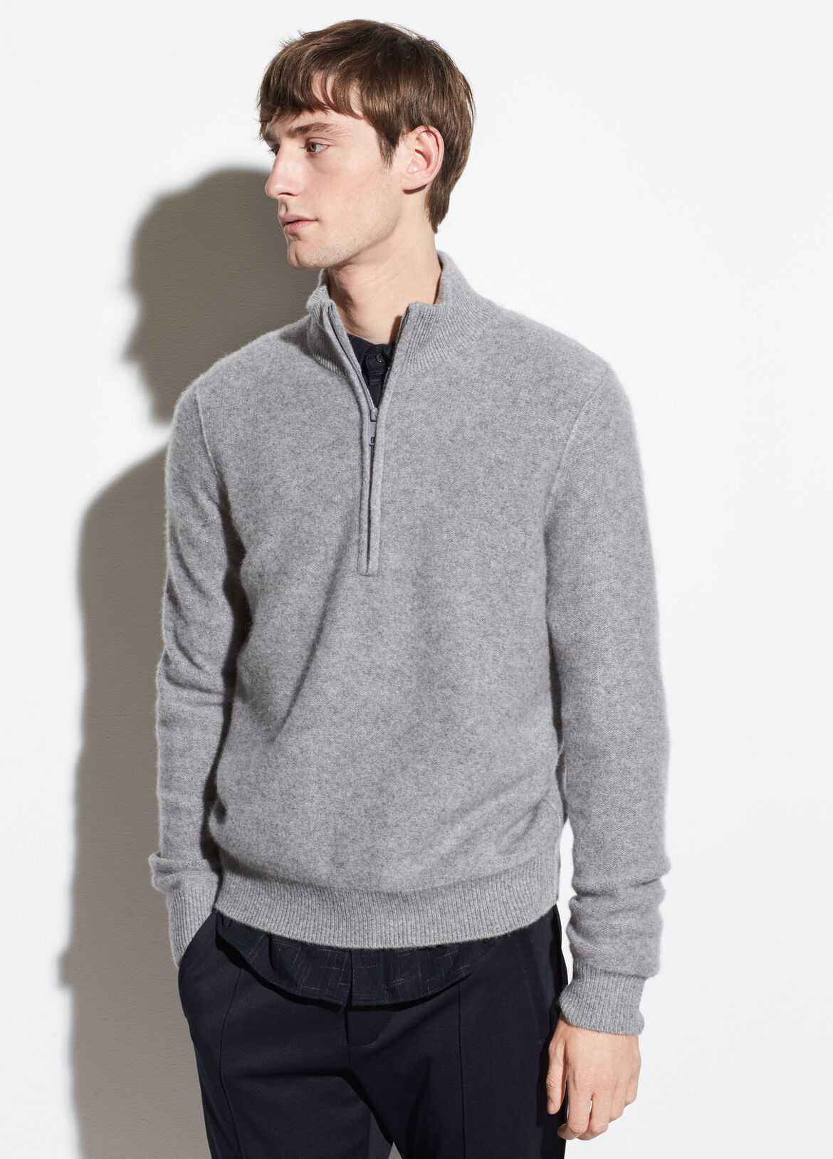 빈스 캐시미어 하프 집업 니트 Vince Boiled Cashmere Half-Zip Pullover,heather grey