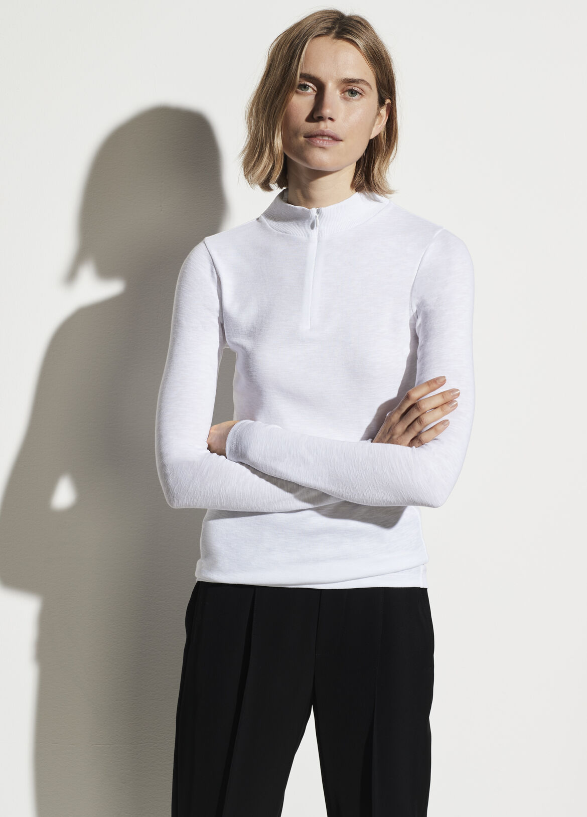빈스 Vince Half Zip Mock Neck,optic white