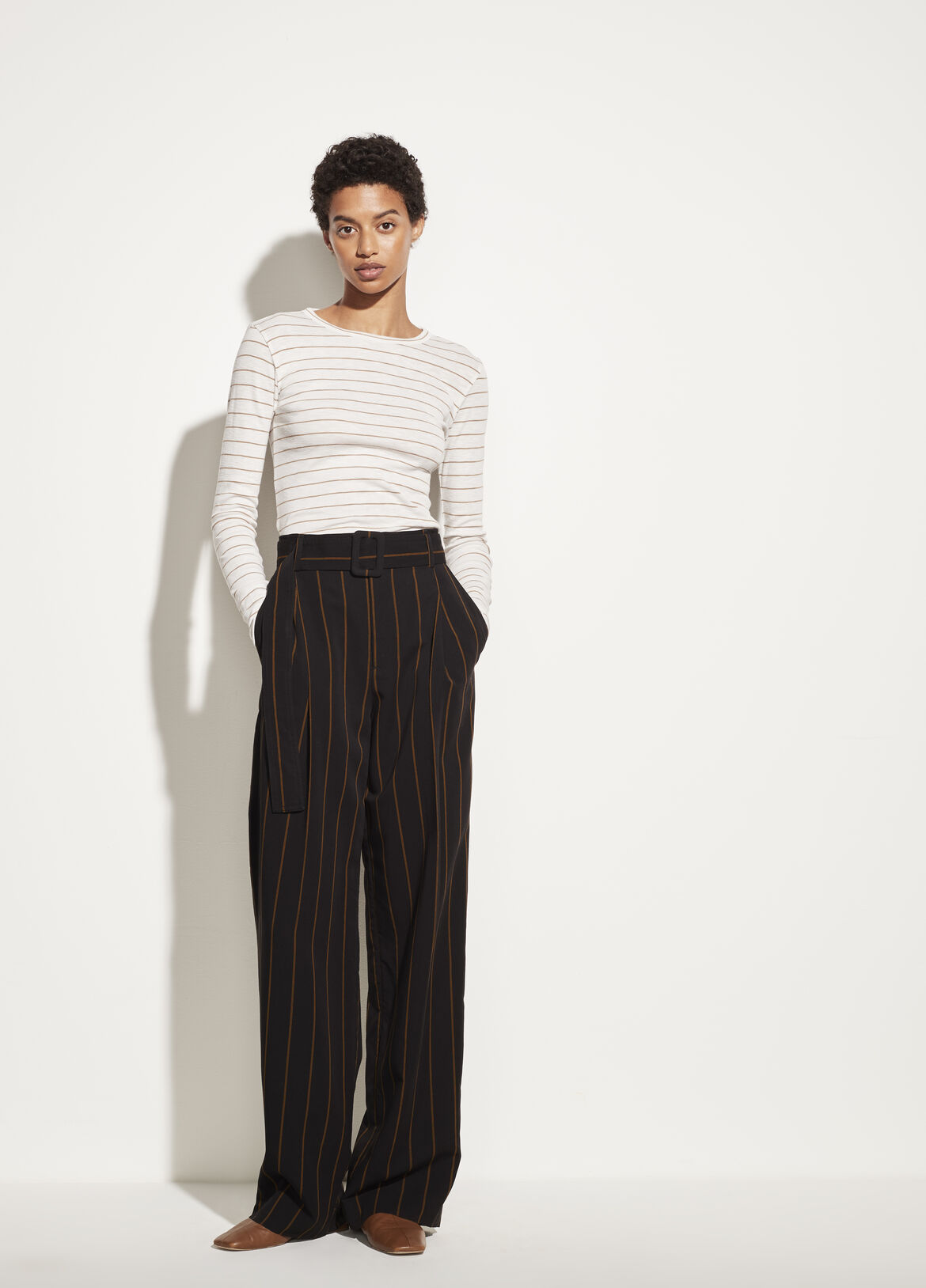 빈스 Vince Chalk Stripe Crew,off white/dune
