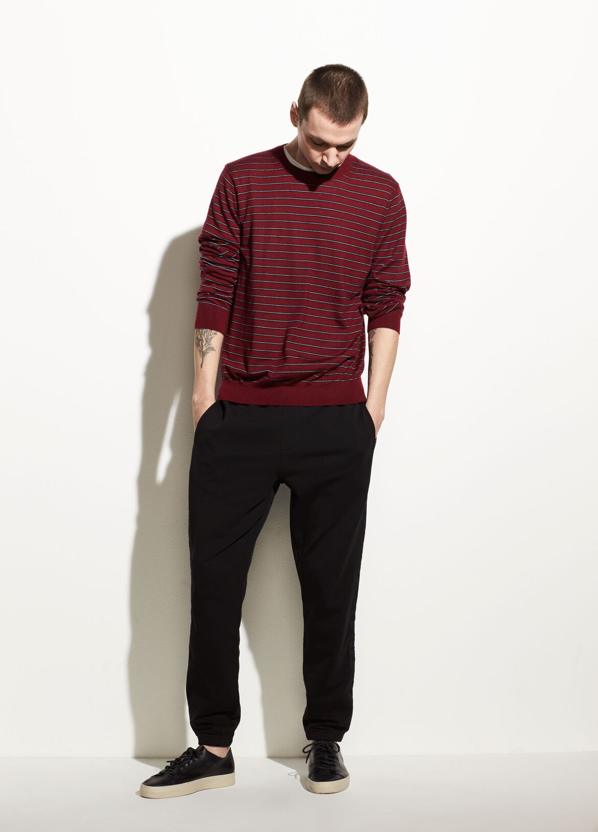 빈스 Vince Striped Wool Crew,merlot/new coastal