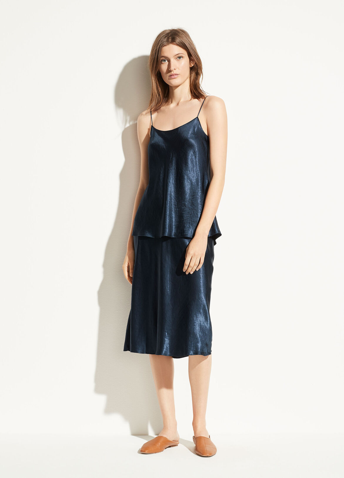빈스 사틴 슬립 스커트 Vince Satin Slip Skirt,coastal blue
