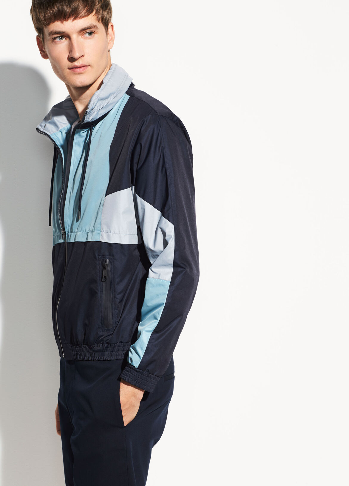 빈스 Vince Color-Block Hooded Track Jacket,coastal
