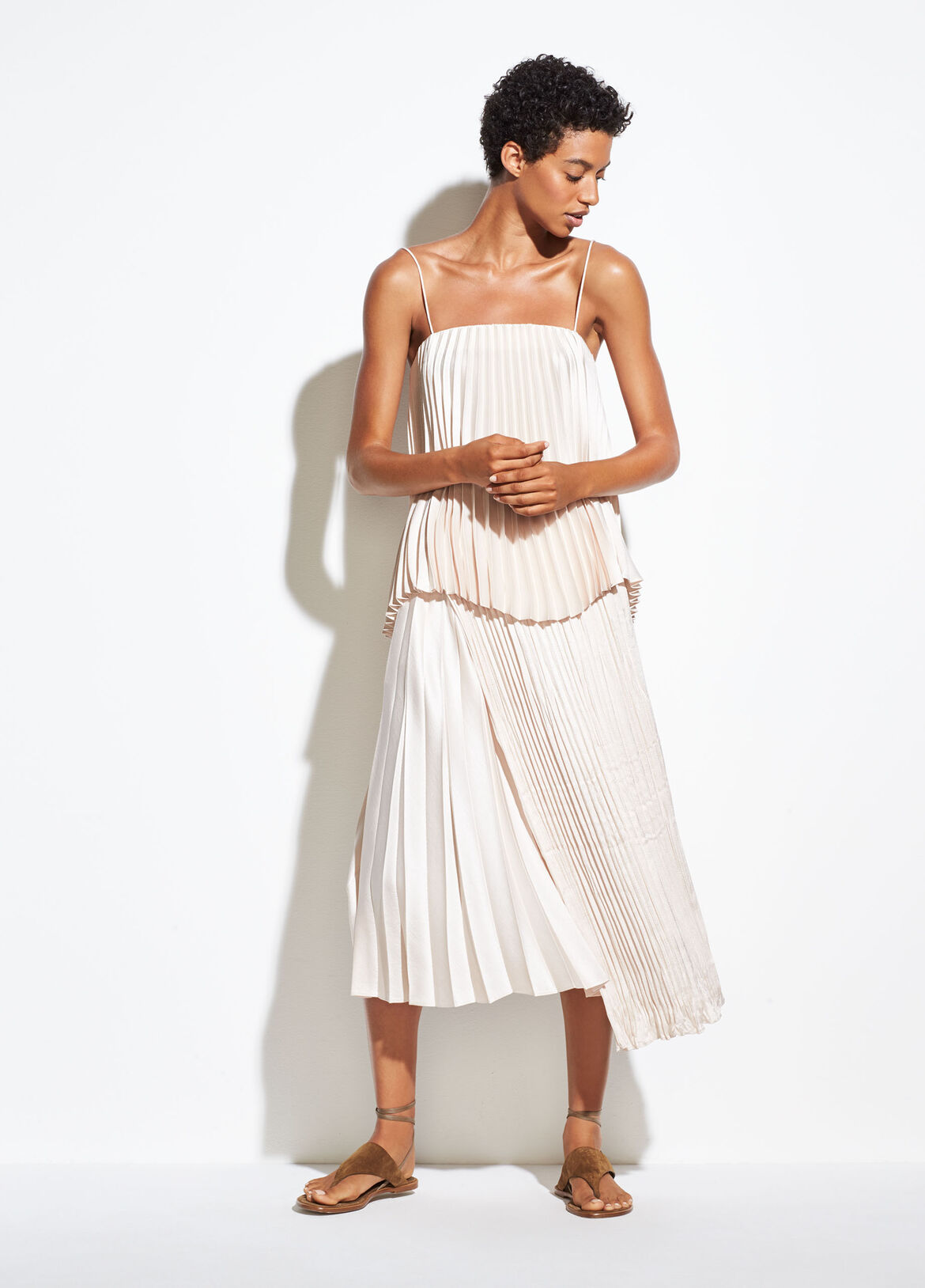 빈스 Vince Mixed Pleat Skirt,pale alder
