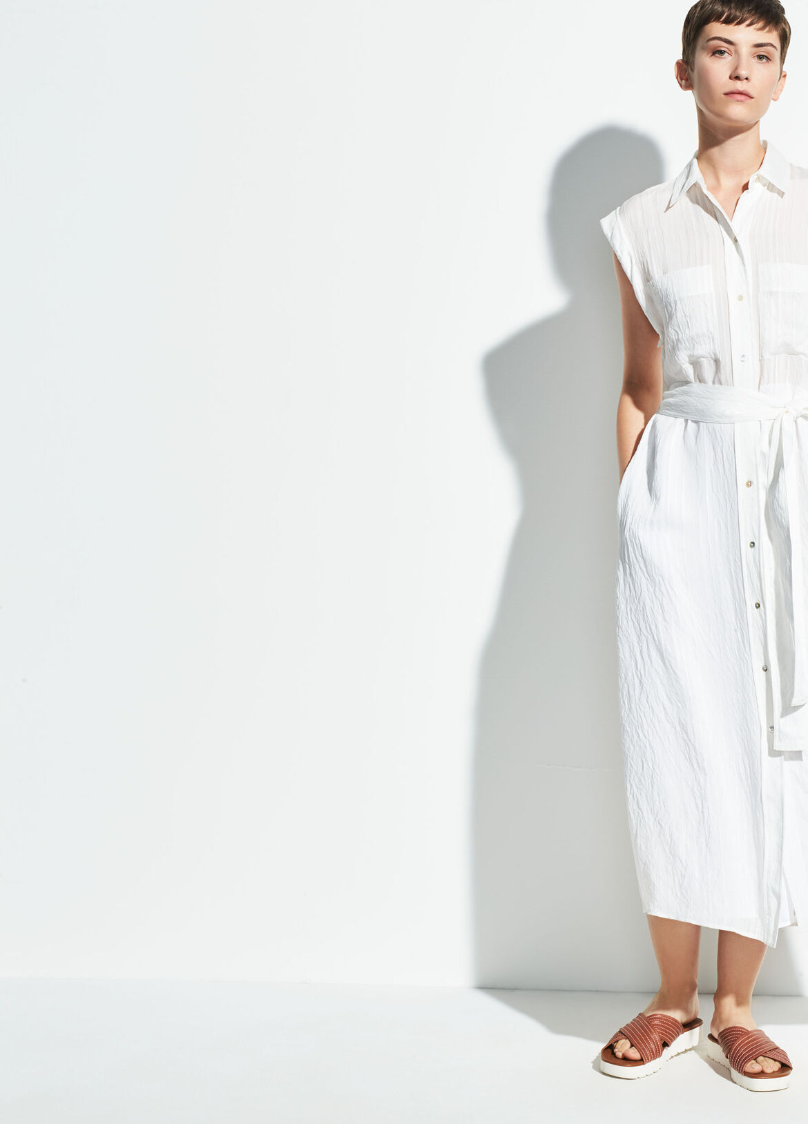 빈스 롱 셔츠 원피스 Vince Rolled Sleeve Shirt Dress,optic white