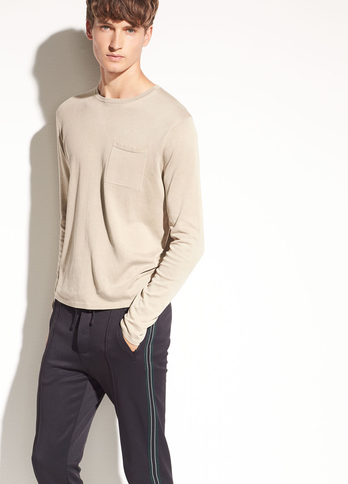 빈스 Vince Single Pocket Cotton Crew,pebble taupe