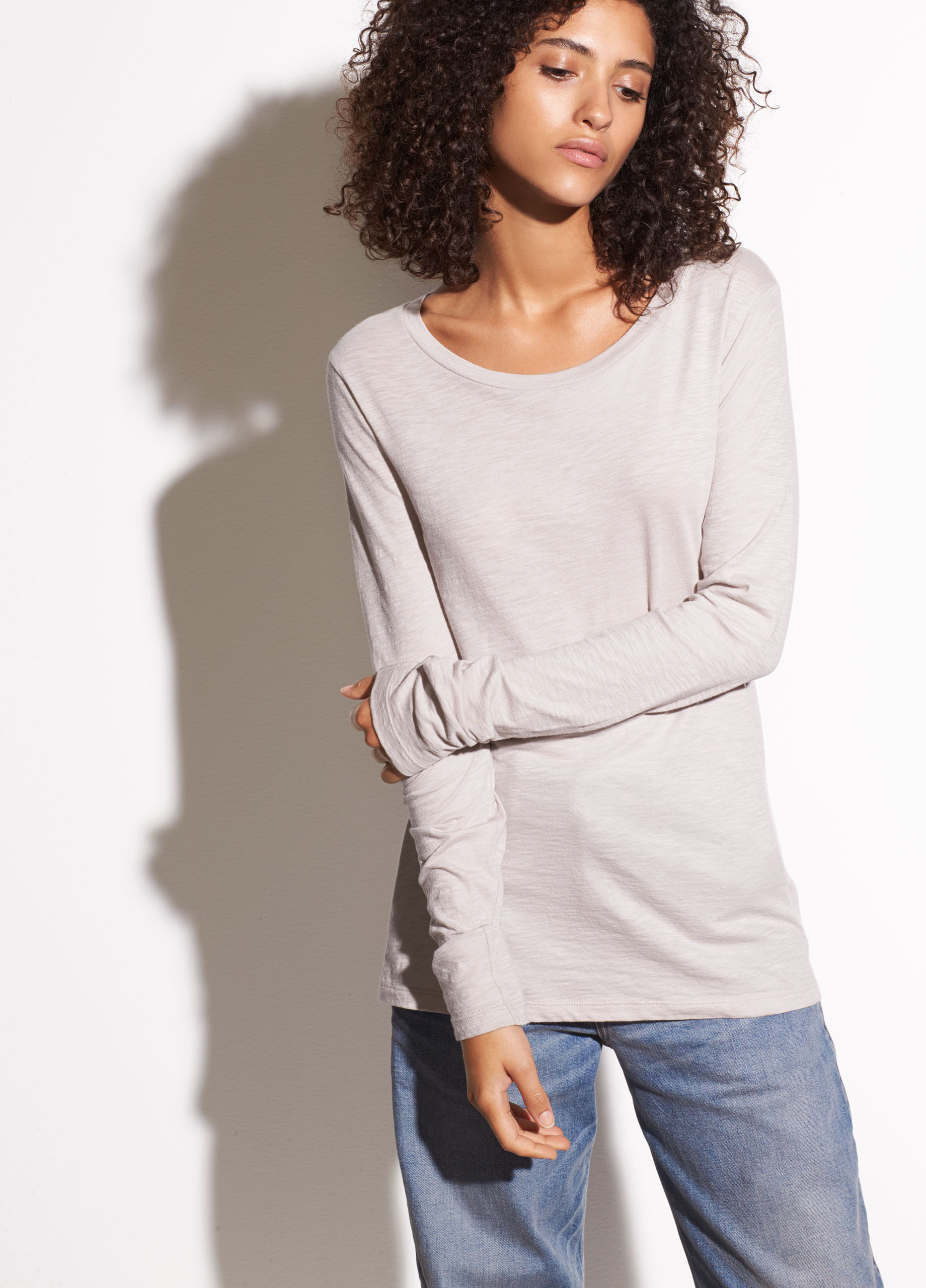 Double Layer Cashmere and Cotton Crew