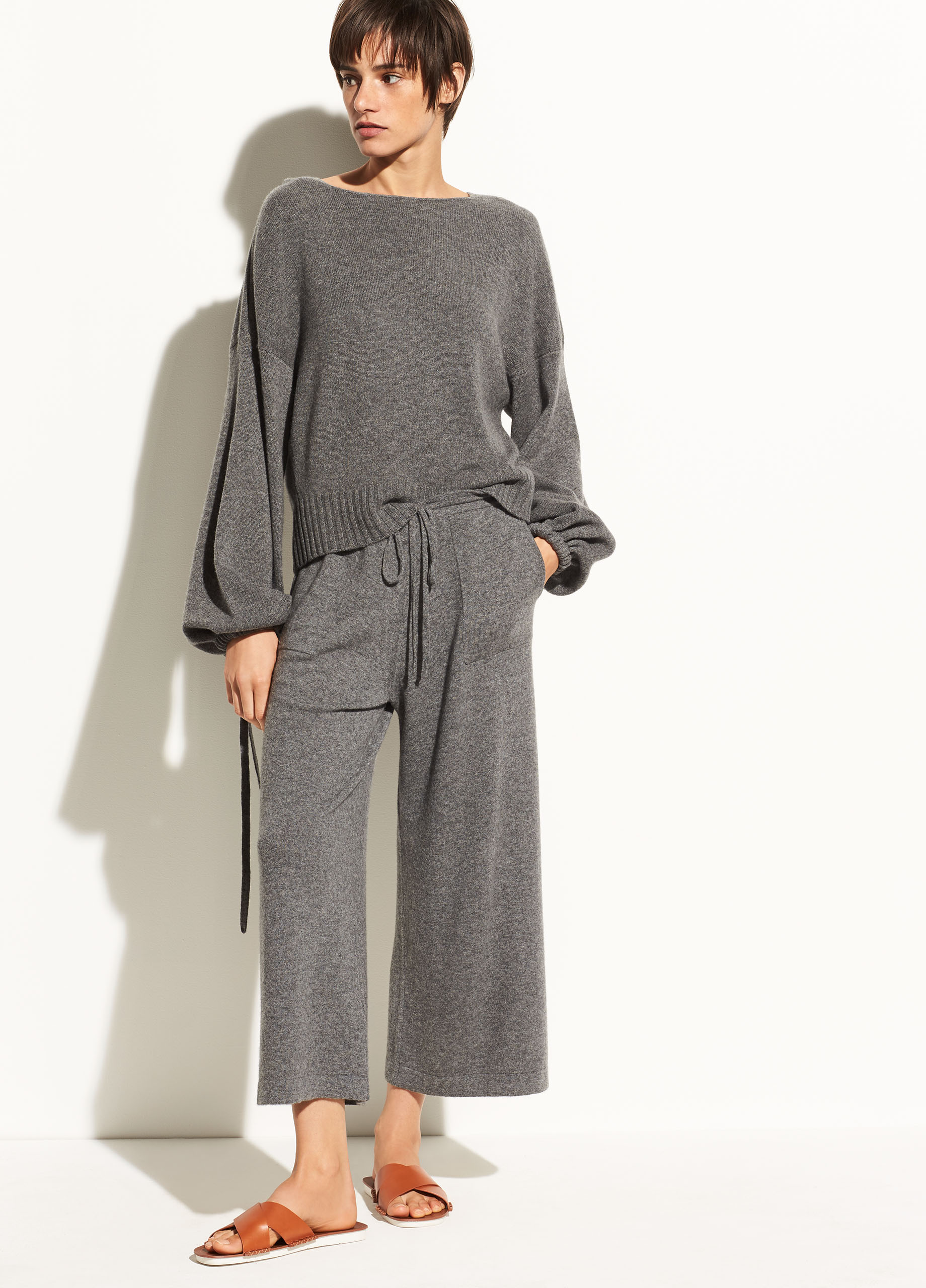 Scrunch Sleeve Wool and Cashmere Crop Hoodie
