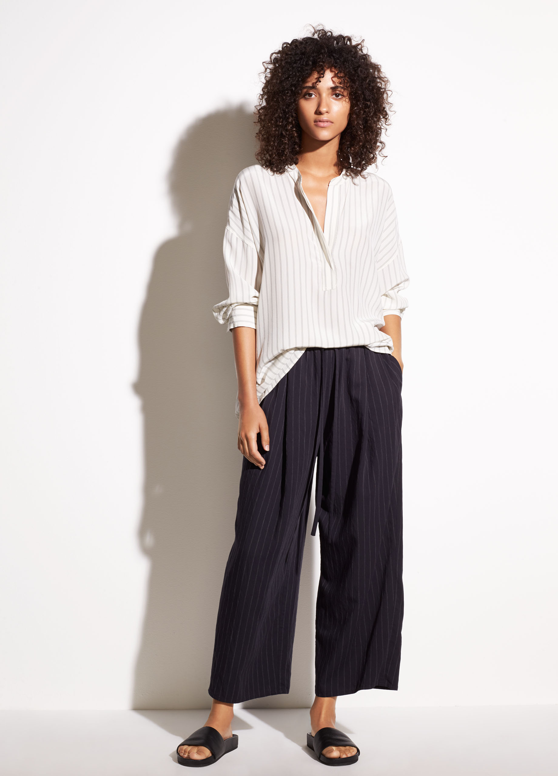 Double-Stripe Shirred Drape Silk Pullover