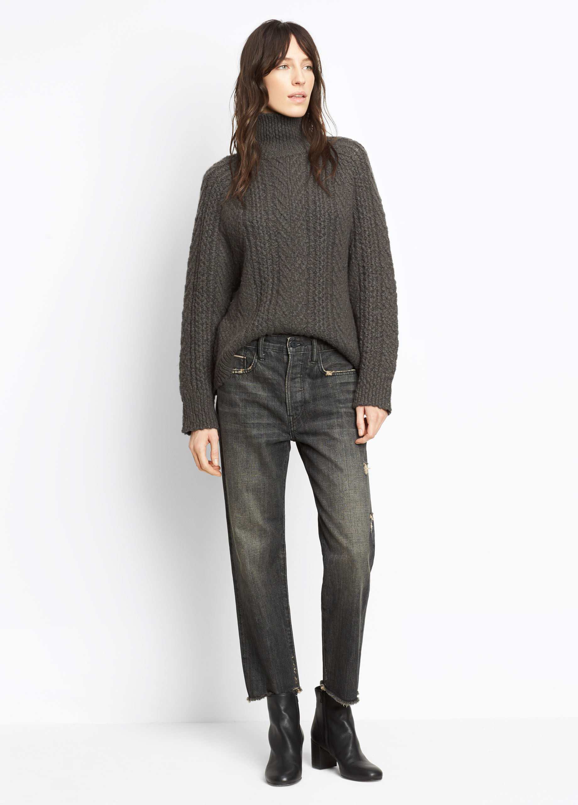 Raglan Cable Knit Turtleneck