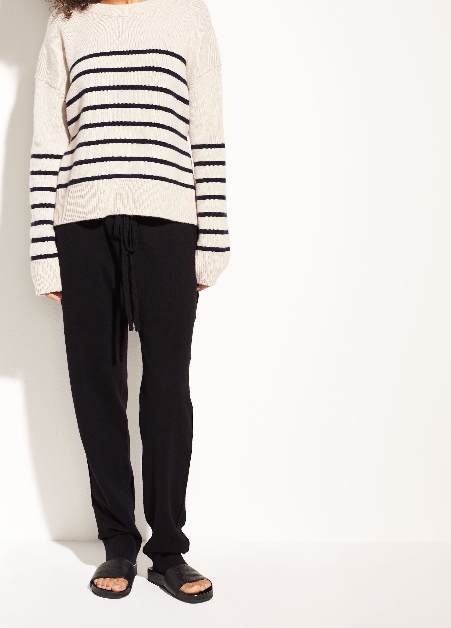 Striped Boxy Cashmere Crew