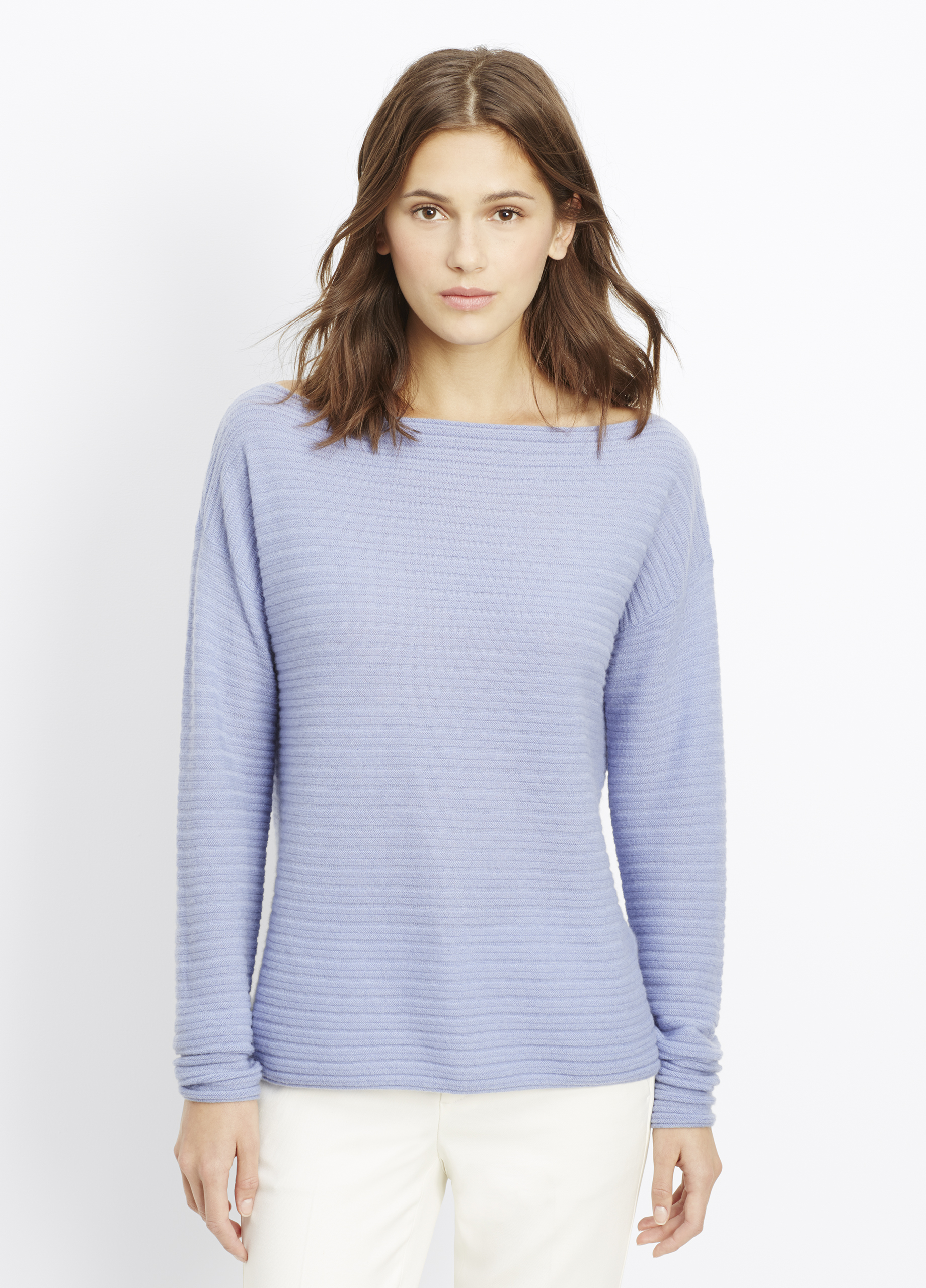 Cashmere Horizontal Rib Boatneck Sweater for Women | Vince
