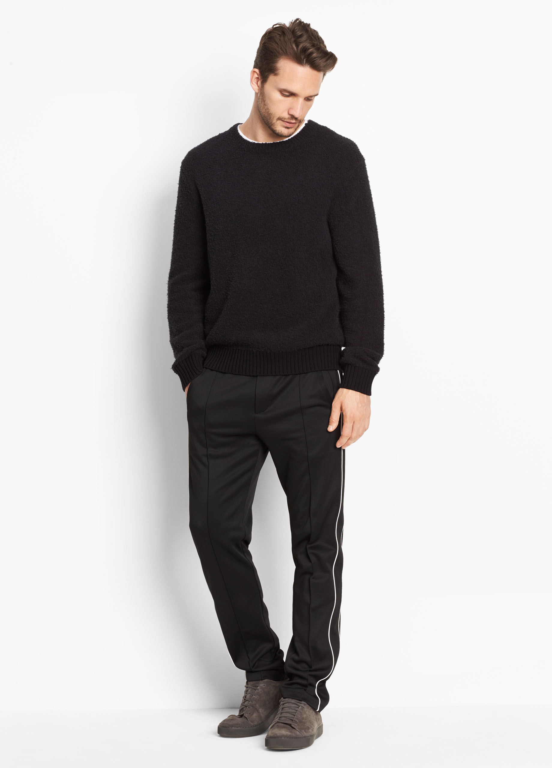 Terry Drawstring Half-Zip Mock Neck