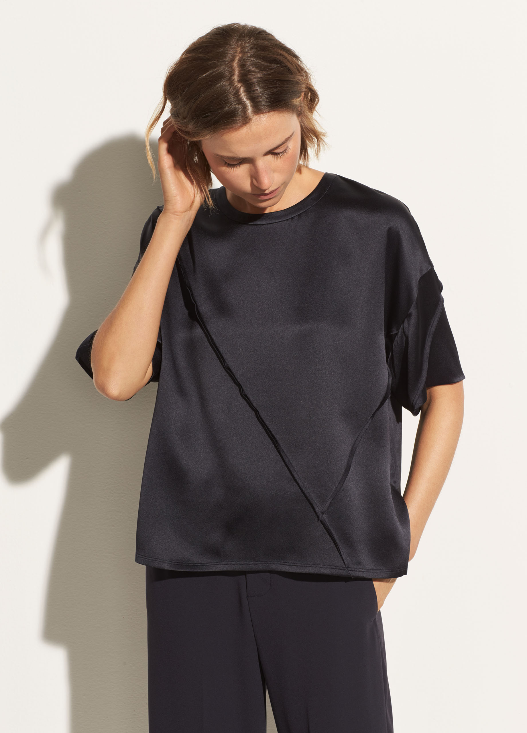 Raw Edge Silk Tee by Vince