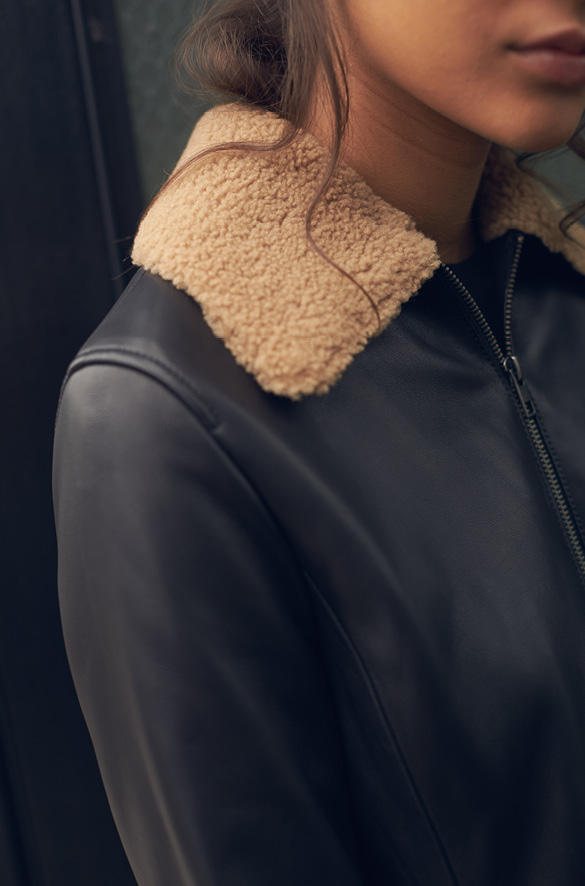 Leather Shearling Collar Jacket Vince for Cereal