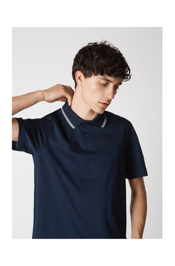 Rib Tipped Cotton Polo Vince Summer for Men