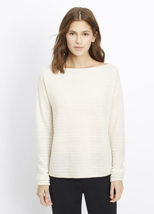 59b30f320e Cashmere Horizontal Rib Boatneck Sweater for Women