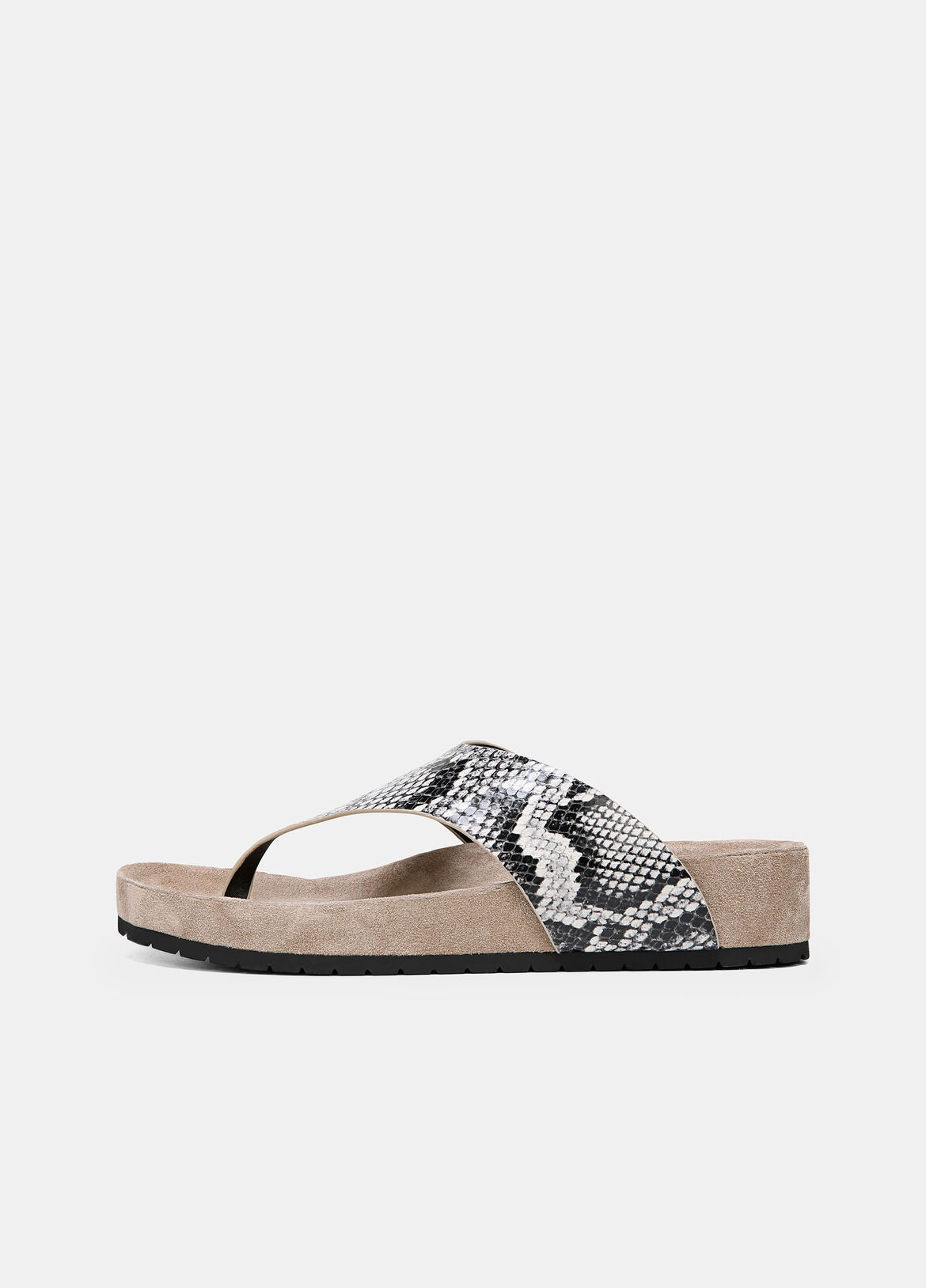 The Padma are elevated sandals done in contrasting snake-effect leather and suede. They're finished with comfortable molded footbeds.