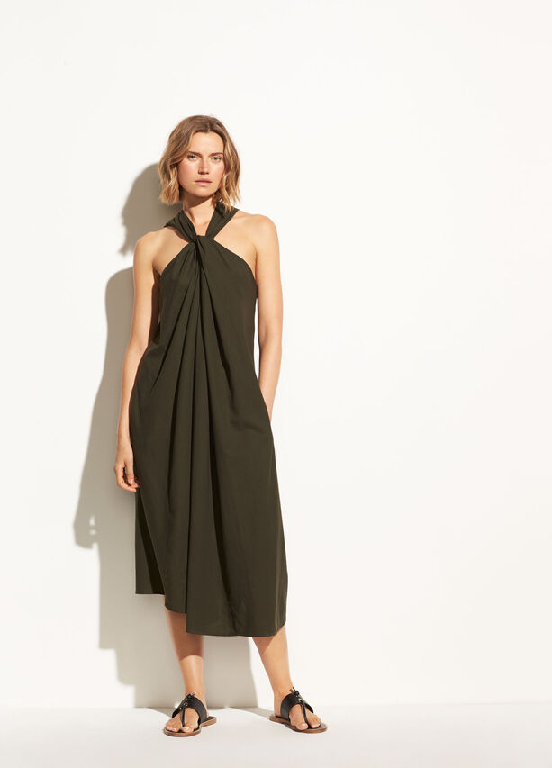 Twist Front Cotton Halter Dress by Vince