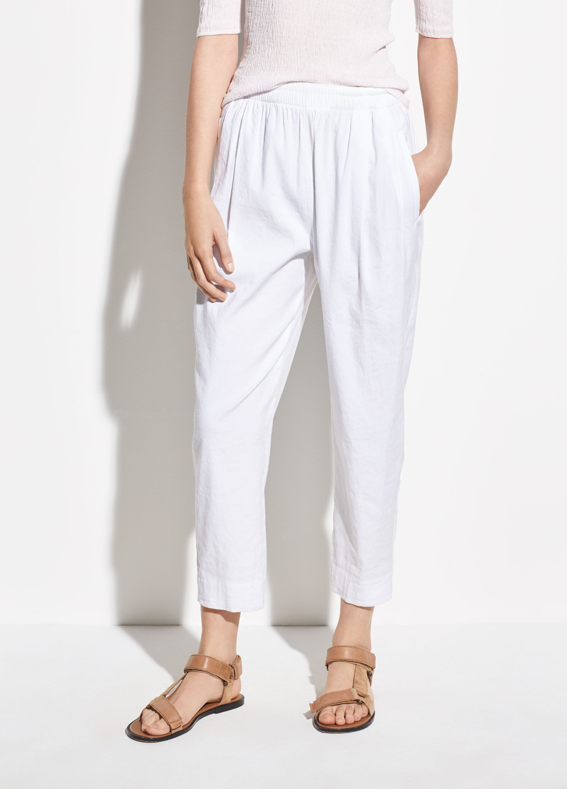 Womens black tapered linen trousers