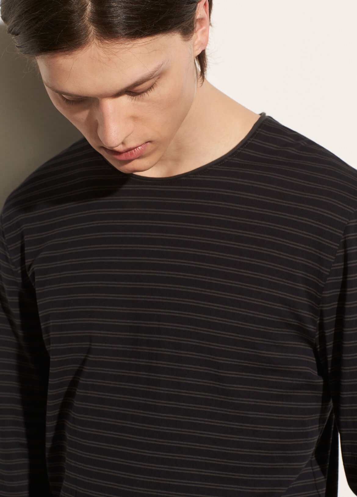 Mens t shirts vince double stripe long sleeve crew publicscrutiny Choice Image
