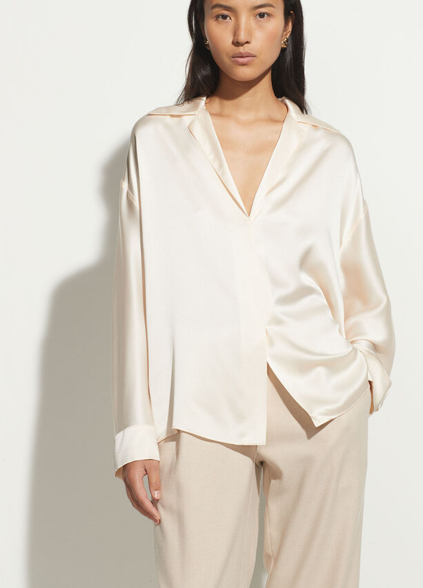 Vince Silk Shaped Collar Pullover
