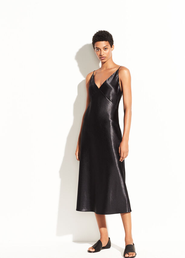 3570efefab Metallic Satin V-Neck Dress for Women