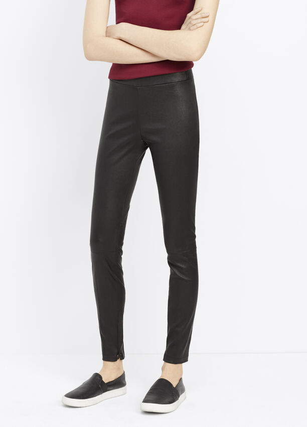 982d2f2c911ad Leather Legging With Ankle Zip for Women | Vince