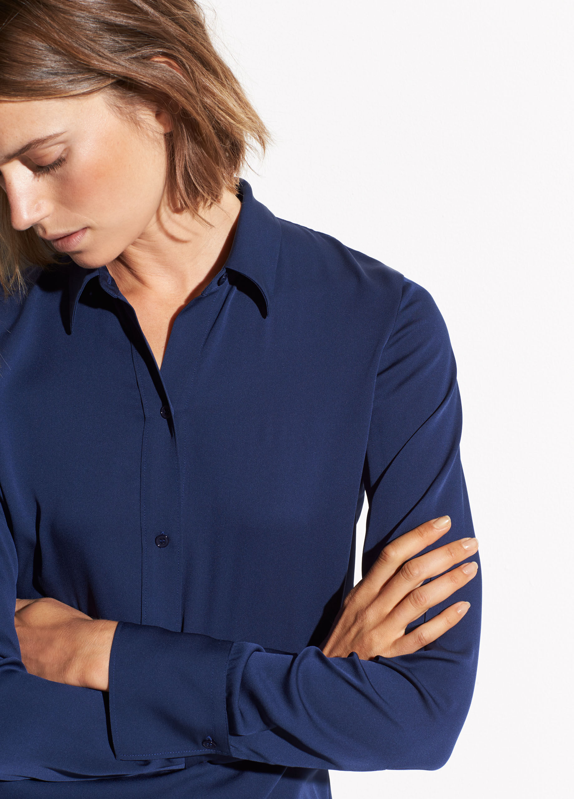 e1feca42bf8eb Slim fitted popover shirt jpg 1170x1628 Long royal blue satin blouse